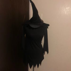 Witch kids costume all black comes with hat